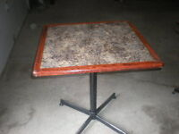 Square Pub Style Table With Arbrite Top With Wood Edge