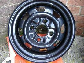 """Set of VW aircooled Beetle 5.5"""" broad steel wheels powdercoated"""