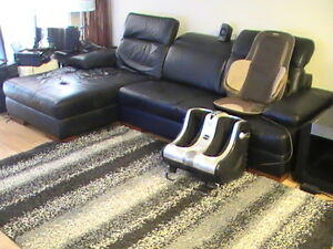 Black Genuine leather sectional
