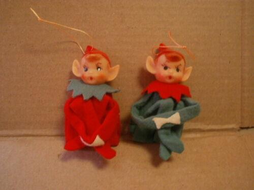 2 Vtg. Knee Hugger Elves ChristmasTree Ornaments - Felt / Plastic -made in Japan