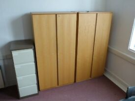 2 X Solid light wood wardrobes.