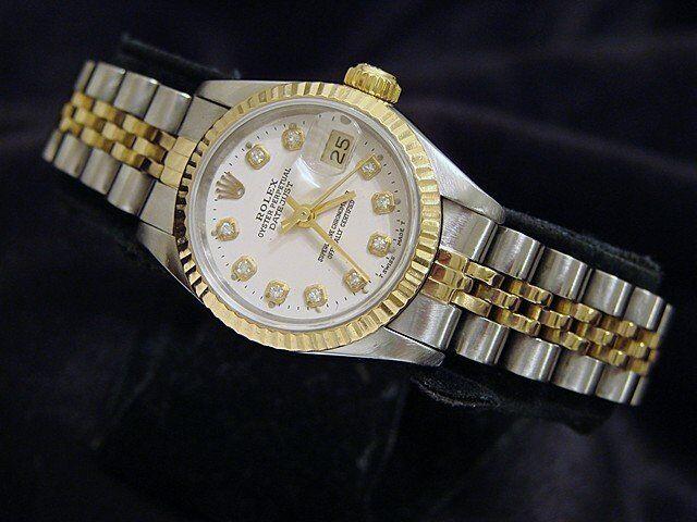 Rolex Datejust Lady 2tone 18k Yellow Gold Steel Watch White Diamond Dial 69173