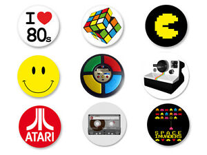 Lot pack badge button 38mm ann e 80 retro objet culte i heart the 80s - Objets cultes annees 80 ...