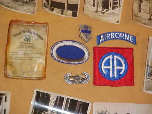 325th Glider Infantry Antitank Company grouping, mini discharge, photos, wings +