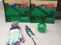 Ladies gardening gloves, secateurs, water spray bottle and basket brackets COLLECT FROM FULHAM