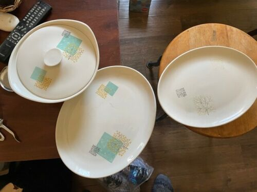 RARE LOT 3 Mid Century Modern 2 large serving Plates, casserole Dish Knowles
