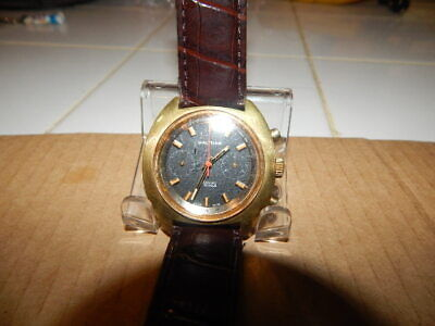 Vintage Men's Watham 2 Meters Black Dial Chronograph Watch - Serviced