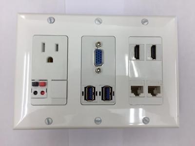 TRIPLE GANG WALL PLATE 110V POWER -2 BUTTON SPEAKER -VGA-USB-CAT6-HDMI-BRUSH ()