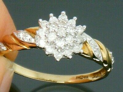 9ct Gold 0.25ct Diamond Hallmarked Cluster ring size L