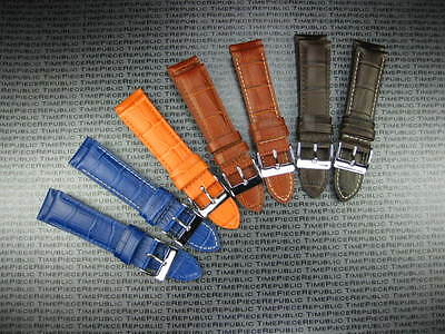 21mm Brown Blue Orange LEATHER STRAP Grain Watch Band LONGINES (Orange Brown Bands)