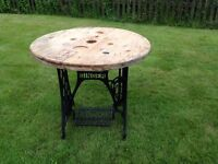Cable drum topped table