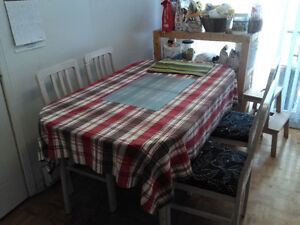 4-6 people dining table and 4 chairs