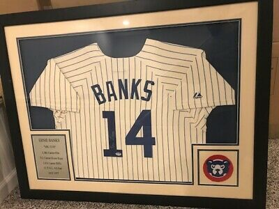 PSA/DNA Framed Autograph Majestic Jersey ERNIE BANKS Chicago Cubs COA Photo (Majestic Photo Frame)