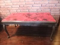 decoupague coffee table with red roses