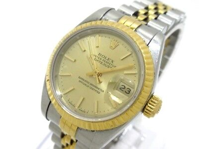 Auth ROLEX Datejust 69173 ChampagneGold Silver 18K Yellow Gold X227708