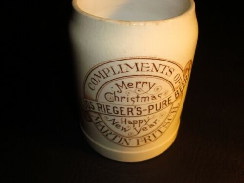 Circa 1910 Joseph Rieger Holiday Ceramic Mug, Philadelphia, Pennsylvania