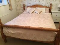 Solid Pine Wood King Size Bed. Good Condition