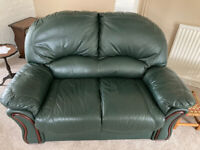 Leather Sofa and Chairs in Green