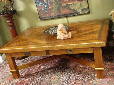 """LARGE OAK """"COCO REPUBLIC"""" COFFEE TABLE ~ BRASS INLAY, X FRAME STRETCHER BASE"""