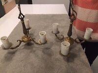 Two brass light fittings (3 arm)