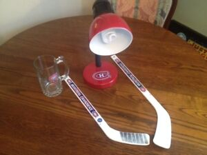 Montreal Canadians Lamp With Glass Mug and 2 Mimi Sticks