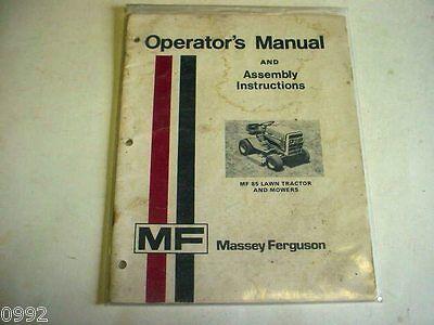 Massey Ferguson MF 85 Lawn Tractor & Mower Operators Manual