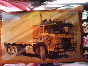 70s truck picture made on pine board