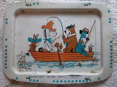 Vintage 1960's Hanna-Barbera Metal TV TRAY, Yogi Bear, Huckleberry Hound, McGraw