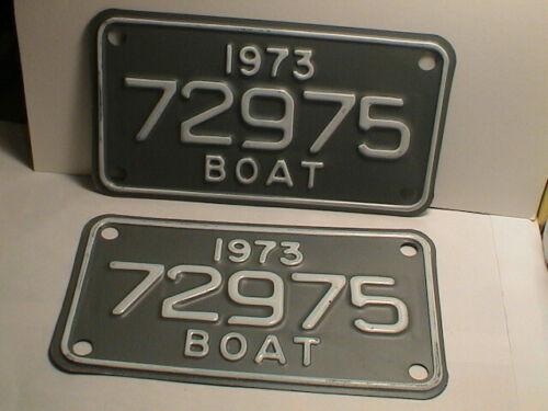 1973 PAIR OF STATE OF MICHIGAN MOTOR FISHING BOAT WATERCRAFT LICENSE PLATES