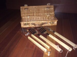 BRAND NEW Wood-Handled BBQ Tool Set in Wicker Basket!!!