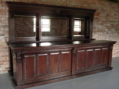 Exceptional 3.6m Solid Mahogany Pub Counter & Back Bar, Home Pub Drinks Cocktail