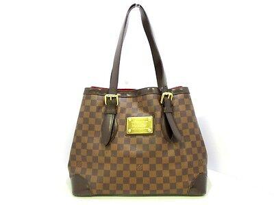 Authentic LOUIS VUITTON Damier Hampstead MM N51204 Ebene Shoulder Bag