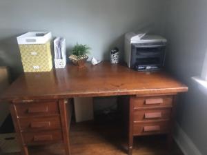 Solid Oak Utility Desk Circa 1940's!
