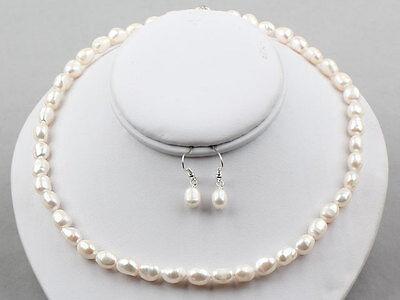 K820 Schmuck Set Perlenkette,Ohrhänger echte Süßwasserzuchtperlen 8mm Collier