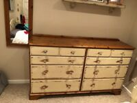 Solid Shabby Chic Double Drawers / Sideboard