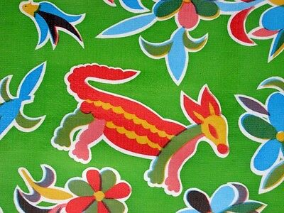 KIWI LIME GREEN AZTEC MEXICAN FIESTA ANIMALS VINYL OILCLOTH TABLECLOTH 48x48 new
