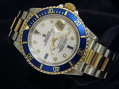 Mens Rolex Submariner 18K Yellow Gold Stainless Steel MOP Diamond Serti Blue Sub