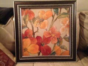 Earth Tones Floral Framed Print on Board