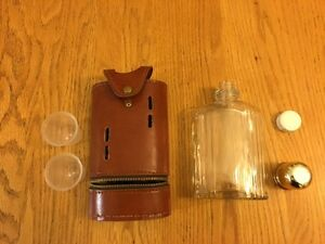 Vintage glass flask by Swank - with faux leather case