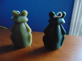 2 100% Pure Beeswax Frog Candles Green