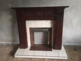 Brown and cream fireplace surround, inset and hearth for sale, good condition