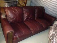 Real Leather Sofa (Plum colour)