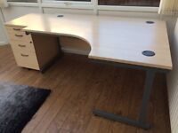 Large beech right handed corner desk and filing cabinet for sale. As new, sturdy and attractive.