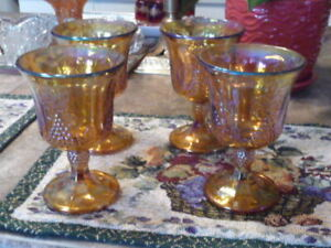 4 Beautiful Vintage Marigold Water Goblets