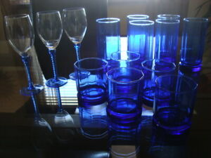 ICE BLUE DRINKING GLASSES TALL ,WINE AND HIGH BALL X14