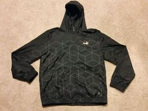 Like new black and gold men's large Puma light zip up jacket $40