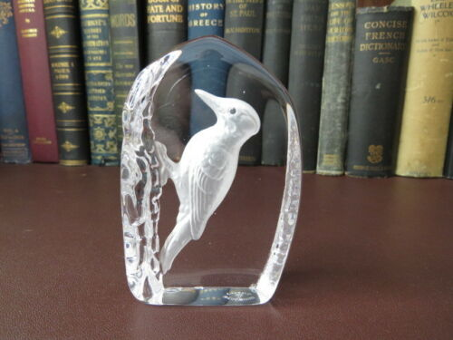 Vintage Wedgwood Crystal Glass  Paperweight - Woodpecker Paperweight
