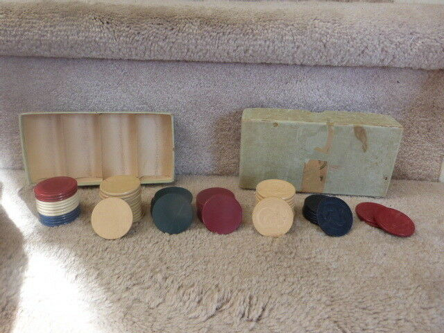 ANTIQUE VINTAGE Clay Poker Chips 21 RAMS HEAD 29 Plain Red White Blue + More