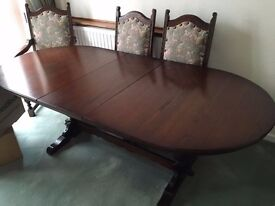 OLD CHARM Lancaster D End extending dining table - will deliver free if within 90 miles of B28 8LH