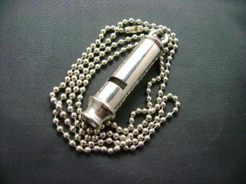 British Style Whistle Military Chrome With Chain  Vietnam Vet Estate (2487)